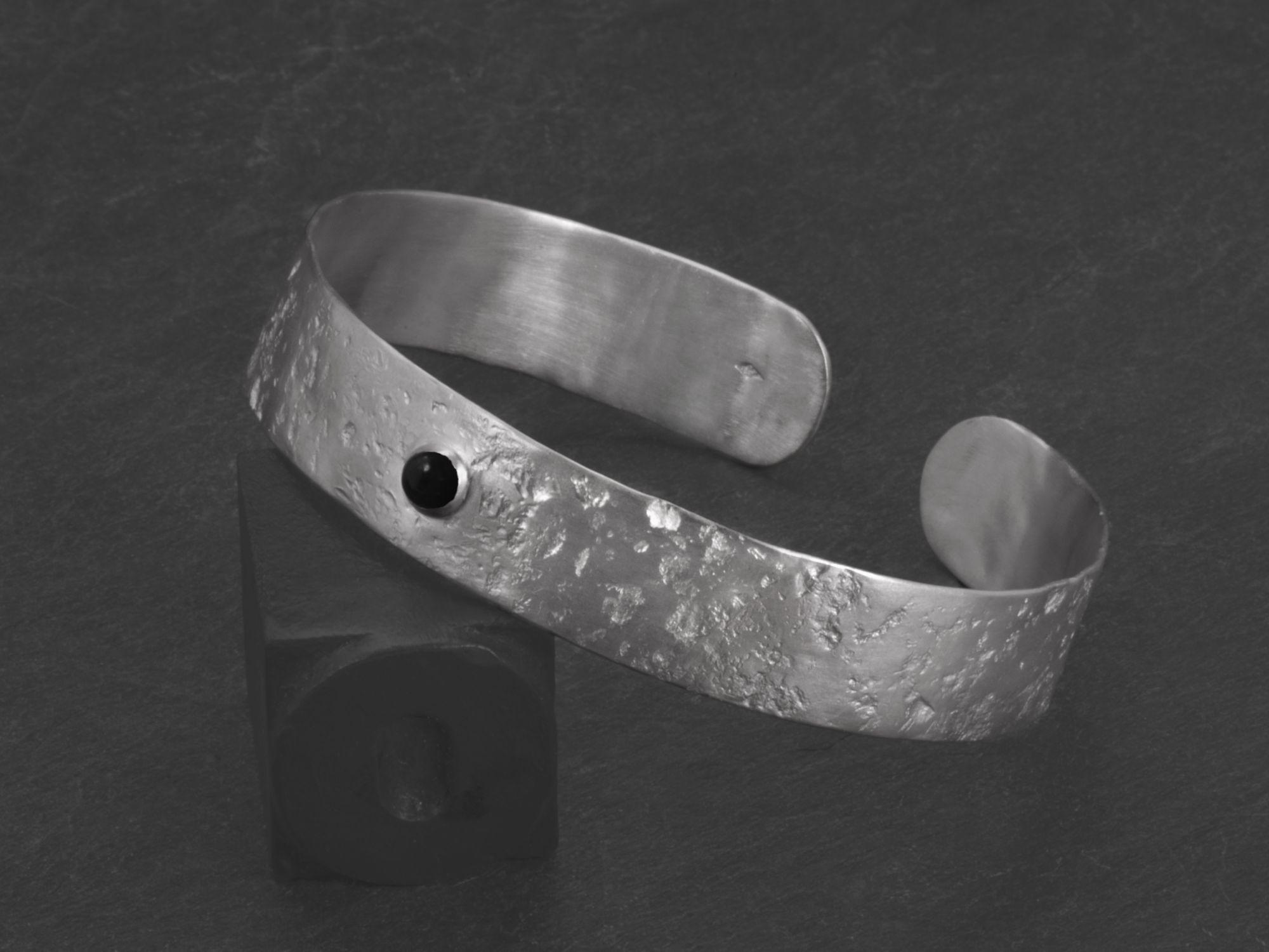 Bracelet Double Ulysse argent rhodié agate noire HOMME par Emmanuelle Zysman