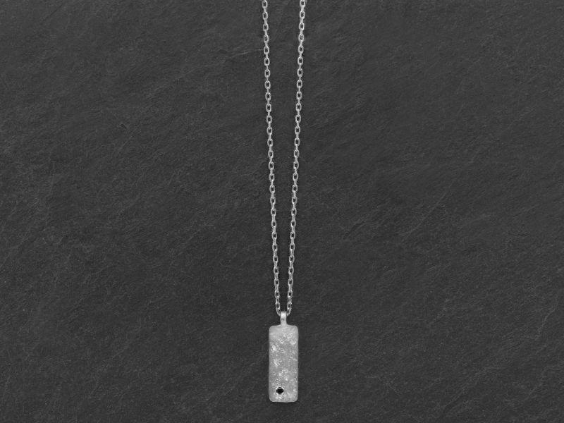 Collier Gaby argent rhodié diamant noir homme