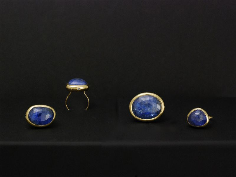Bagues or jaune tanzanite