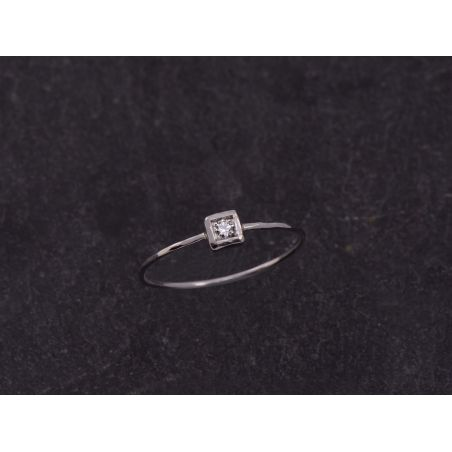 Bague Hélium or blanc diamant blanc par Emmanuelle Zysman