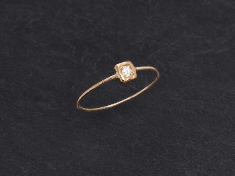 Bague Hélium or jaune diamant blanc