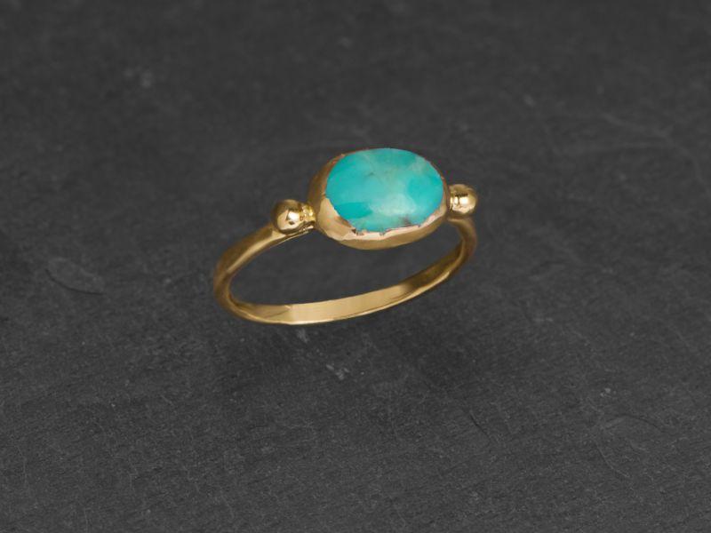 Brunehilde oval vermeil turquoise ring by Emmanuelle Zysman