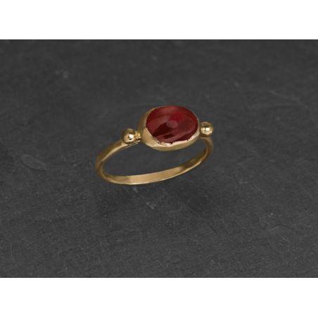 Brunehilde oval vermeil pink tourmaline ring by Emmanuelle Zysman