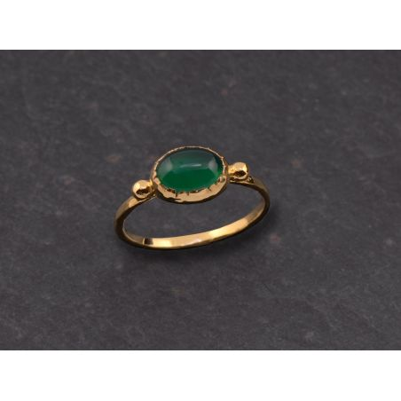 Brunehilde oval vermeil green agate ring by Emmanuelle Zysman