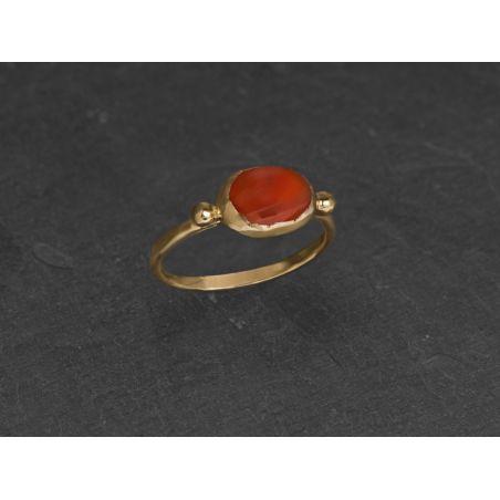 Brunehilde oval vermeil cornelian ring by Emmanuelle Zysman