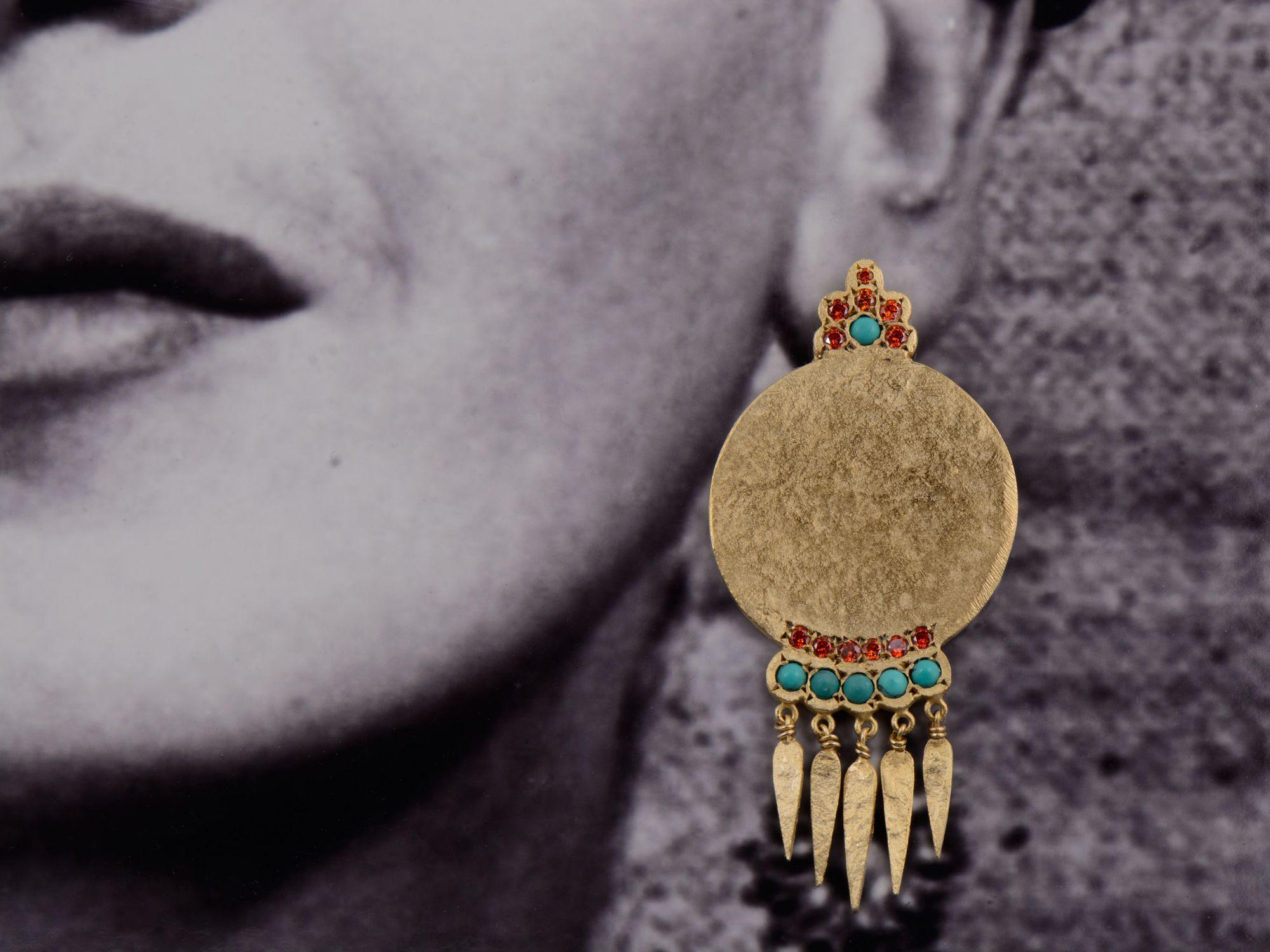 BO India Song vermeil turquoise / zircon rouge par Emmanuelle Zysman