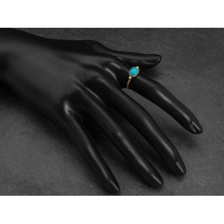 Bague Brunehilde vermeil cabochon turquoise par Emmanuelle Zysman