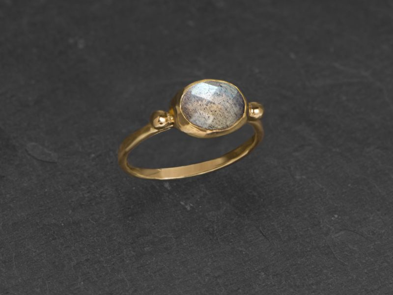 Brunehilde vermeil faceted labradorite ring by Emmanuelle Zysman