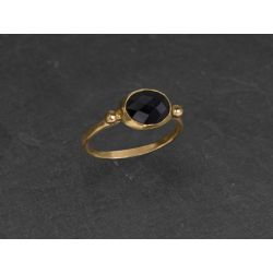 Brunehilde vermeil faceted black spinel ring by Emmanuelle Zysman