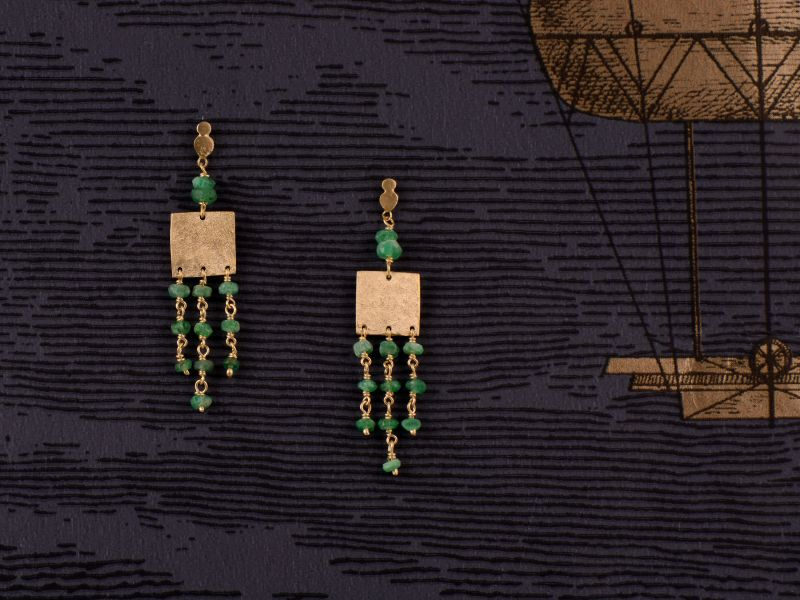 Eleni vermeil emerald earrings