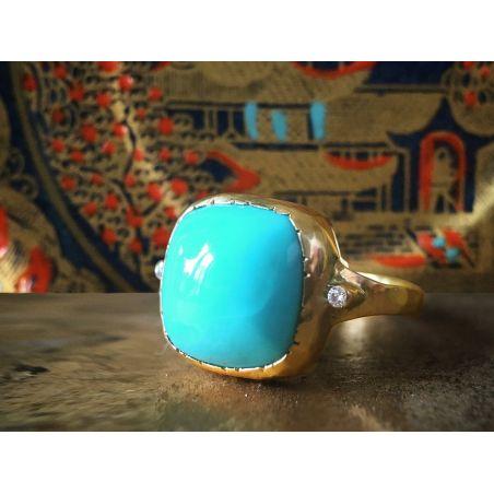 Bague Oriane turquoise diamant par Emmanuelle Zysman