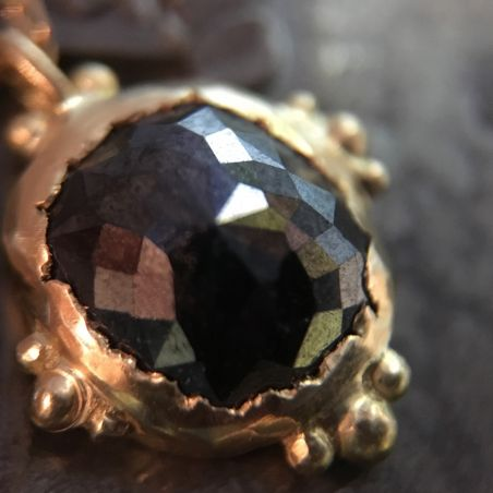 Enigma Rosecut black diamond yellow gold necklace by Emmanuelle Zysman