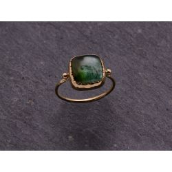 Queen Brunehilde yellow gold squared 9mm green tourmaline ring by Emmanuelle Zysman
