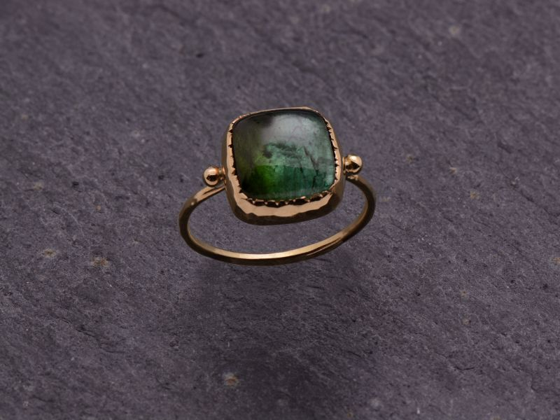 Queen Brunehilde yellow gold squared 9mm green tourmaline ring by Emmanuelle Zysman