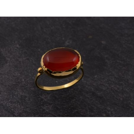 Queen Brunehilde vermeil oval cornelian 10 x 14mm ring by Emmanuelle Zysman