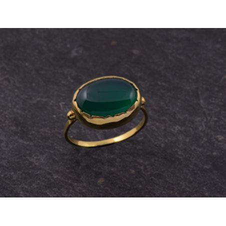 Queen Brunehilde vermeil oval green agate 10 x 14mm ring by Emmanuelle Zysman