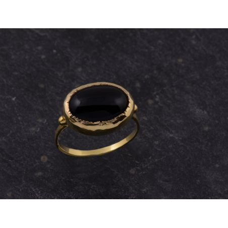 Queen Brunehilde vermeil oval black agate 10 x 14mm ring by Emmanuelle Zysman