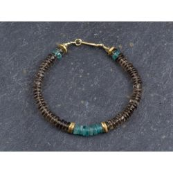 Smoked quartz and apatite Sougia bracelet by Emmanuelle Zysman