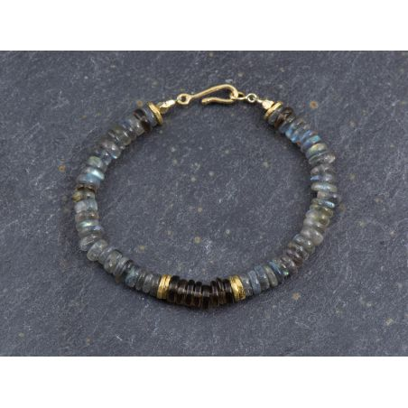 Labradorite and smoked quartz Sougia bracelet by Emmanuelle Zysman