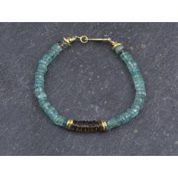 Apatite and smoked quartz Sougia bracelet by Emmanuelle Zysman