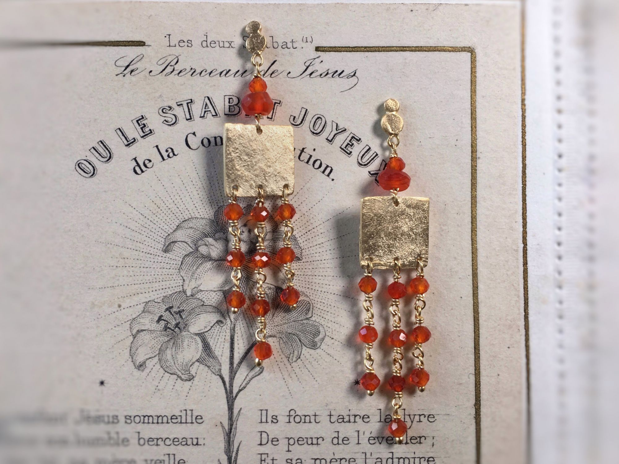 Eleni vermeil carnelian earrings by Emmanuelle Zysman