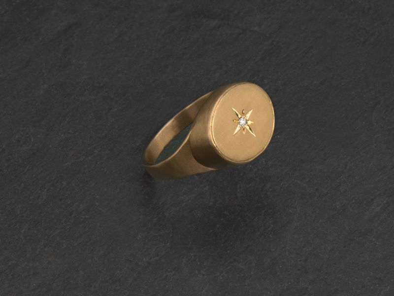 Leila yellow gold white diamond signet ring by Emmanuelle Zysman