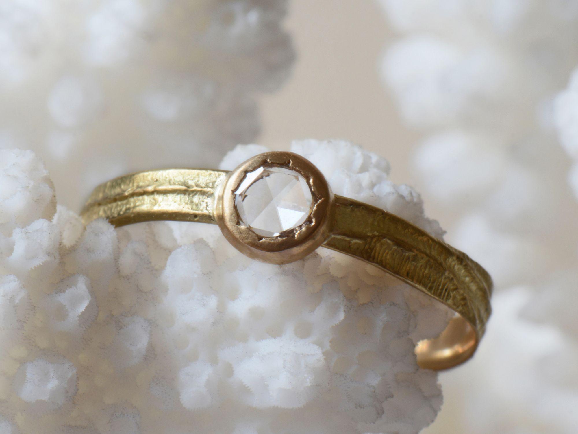Sitia PM white rosecut ring by Emmanuelle Zysman
