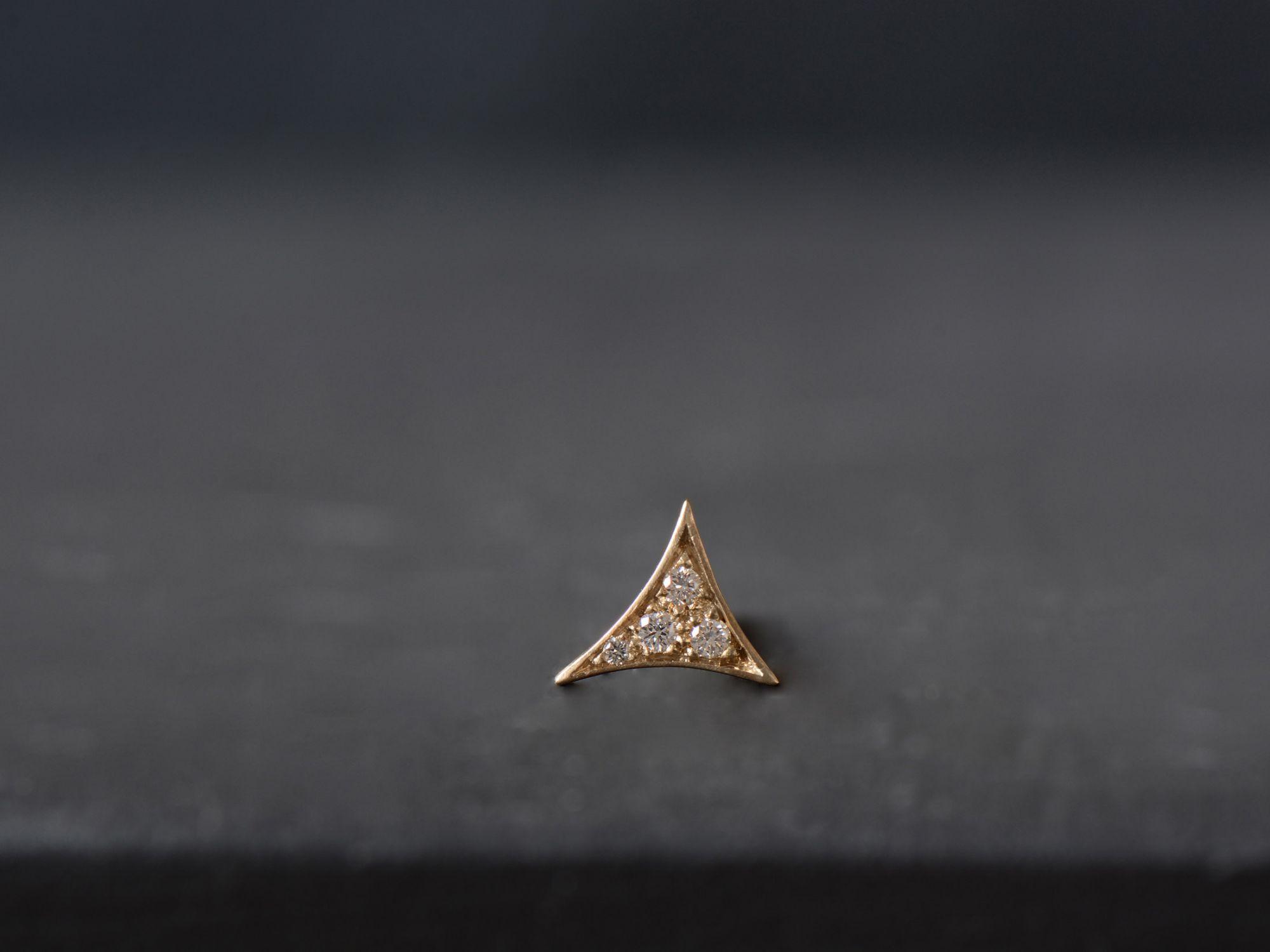 Bermudes vermeil and honey diamonds stud earring by Emmanuelle Zysman