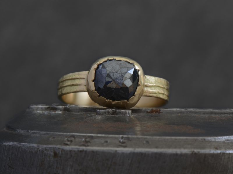 Black diamond Sitia gold ring by Emmanuelle Zysman