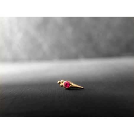 Round Sword ruby stud earring by Emmanuelle Zysman