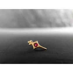Sword ruby stud earring by Emmanuelle Zysman