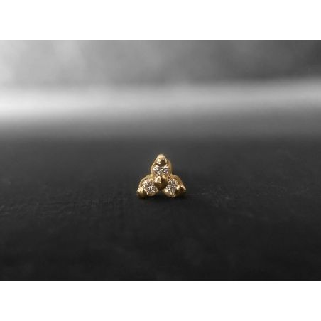 Clover vermeil and honey diamonds stud earring by Emmanuelle Zysman