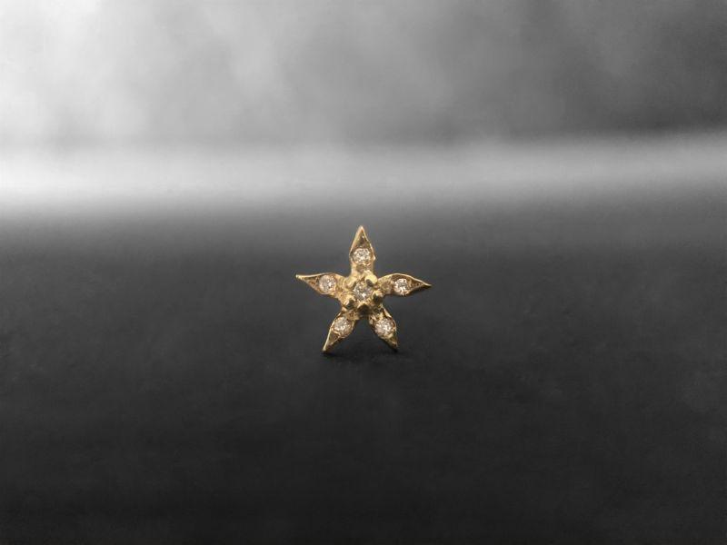 Puce Edelweiss vermeil diamants miel par Emmanuelle Zysman