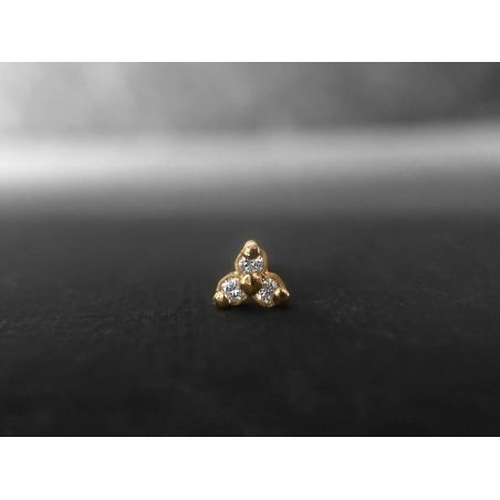 Clover gold diamonds mini stud earring by Emmanuelle Zysman