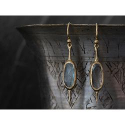 Comet labradorite vermeil single earring by Emmanuelle Zysman