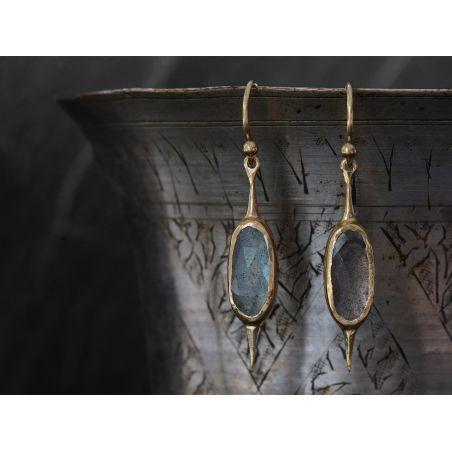 Comet labradorite vermeil single earring by Emmanuelle Zysman
