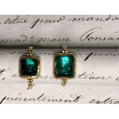 Queen yellow gold rectangular green tourmaline rings by Emmanuelle zysman