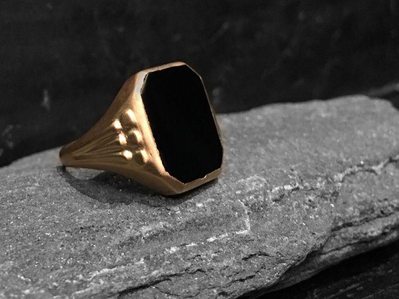Nemours black agate vermeil signet ring by Emmanuelle Zysman