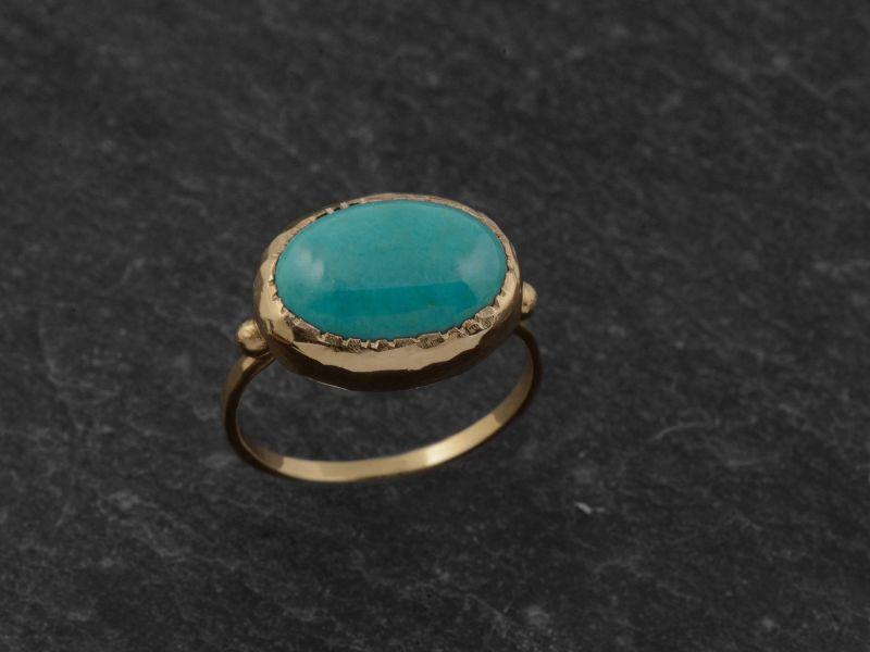 Bague Queen Brunehilde vermeil cabochon turquoise 10x14mm par Emmanuelle Zysman
