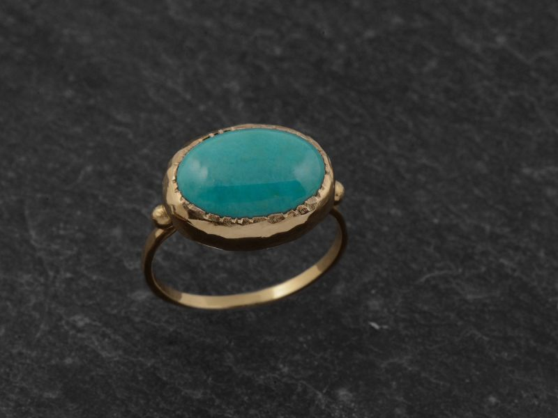 Queen Brunehilde vermeil oval turquoise 10 x 14mm ring by Emmanuelle Zysman