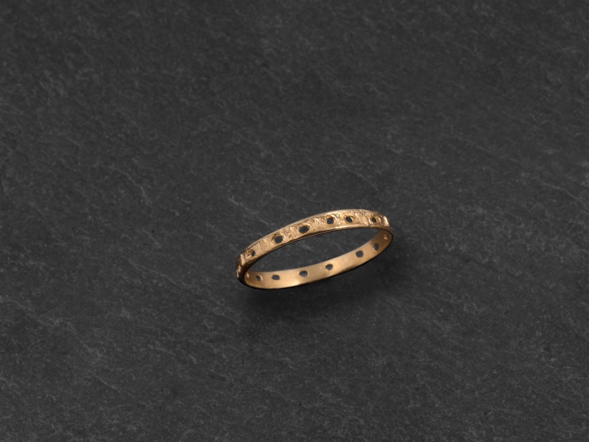 Minos vermeil perforated ring by Emmanuelle Zysman
