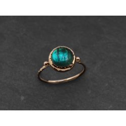 Queen Brunehilde yellow gold round green tourmaline ring by Emmanuelle Zysman