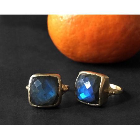 Aphrodite yellow gold labradorite rings by Emmanuelle Zysman