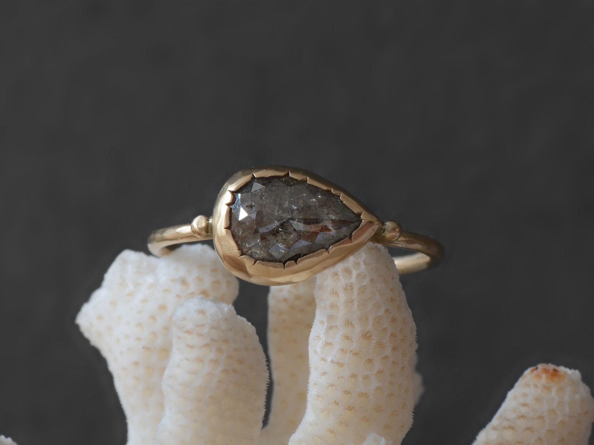 Brunehilde Grey Rosecut Diamond Yellow Gold Ring by Emmanuelle Zysman