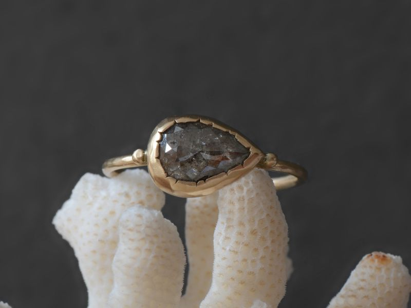 Brunehilde Grey Rosecut Diamond Yellow Gold Ring by Emmanuelle Zysman
