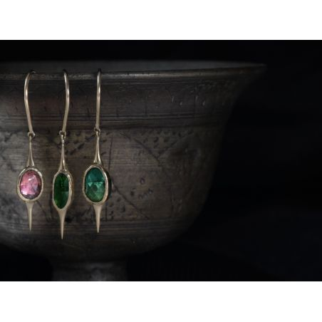 Yellow gold and rosecut tourmaline Comet earrings by Emmanuelle Zysman