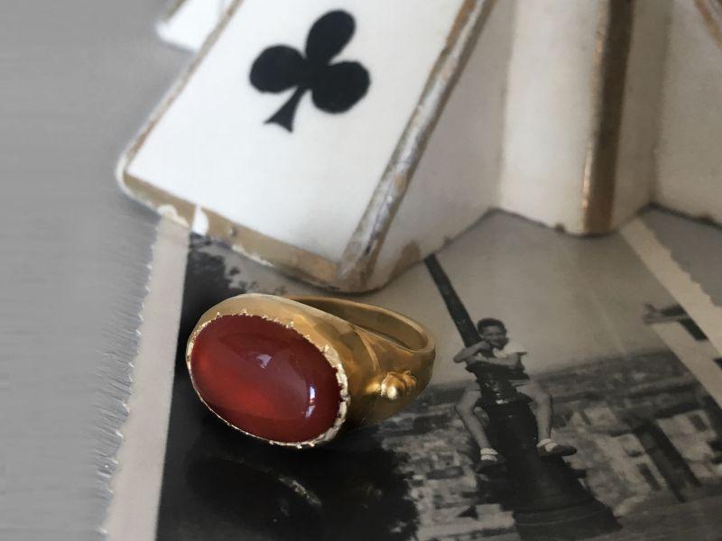BB Fedora vermeil cornelian ring by Emmanuelle Zysman