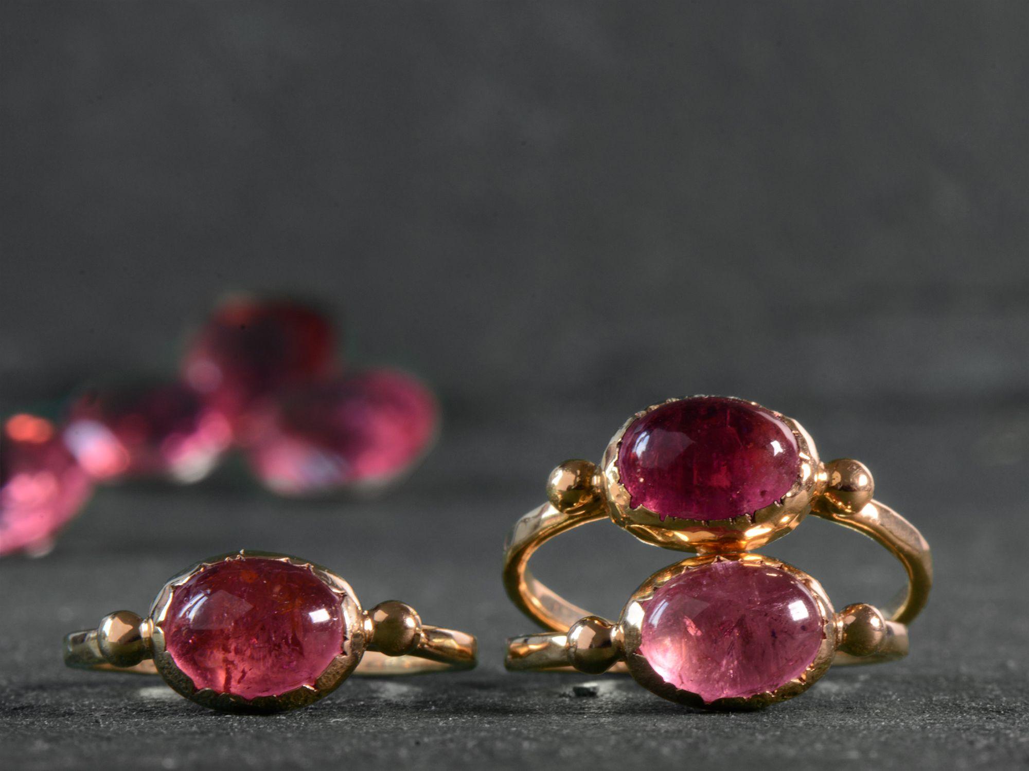 Brunehilde vermeil pink tourmaline rings by Emmanuelle Zysman