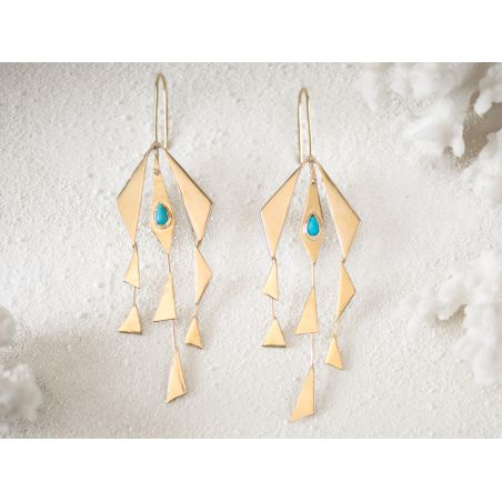 Santorin turquoise vermeil earrings by Emmanuelle Zysman