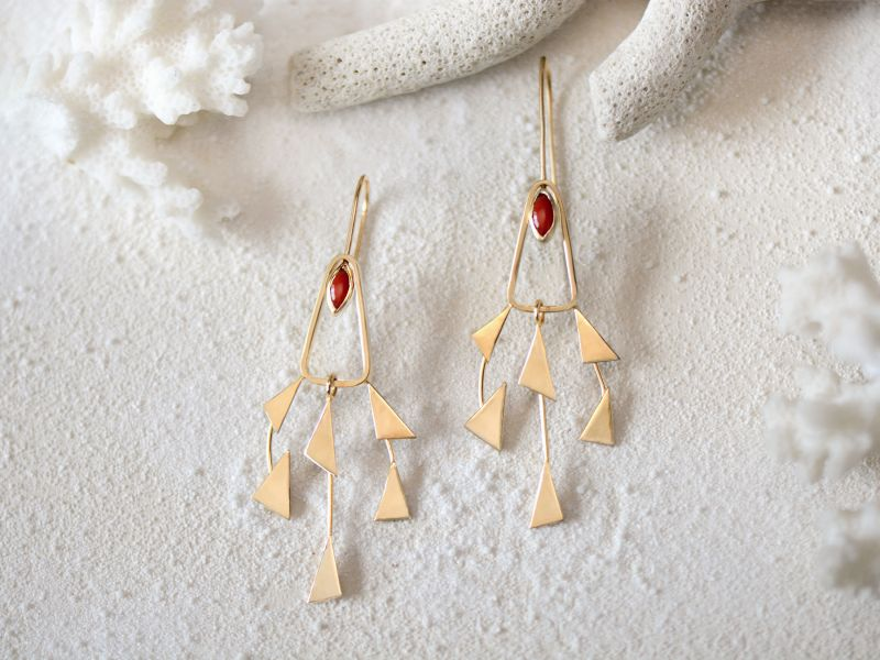 Vésuve vermeil coral earrings by Emmanuelle Zysman